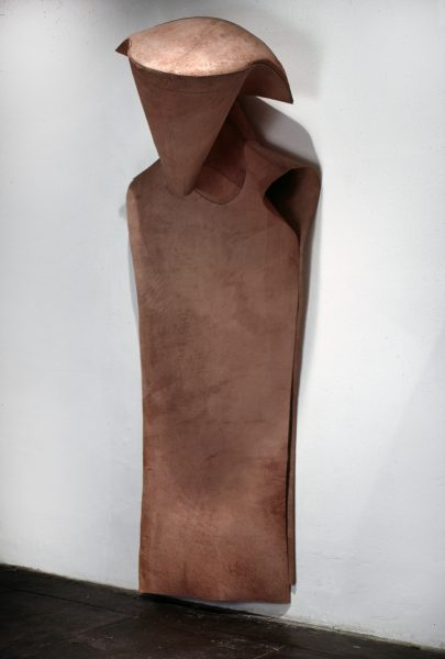 Untitled, 1980, Sewn cowhide, 85 x 34 x 27 inches
