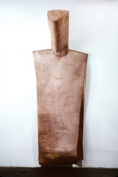 Untitled, 1980, Sewn cowhide, 86.25 x 31 x 18 inches