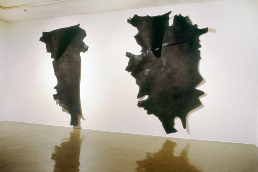 Terry Rosenberg, Banshees, 1981, painted cowhide, ceiling height 12 ft, Philadelphia College of Art