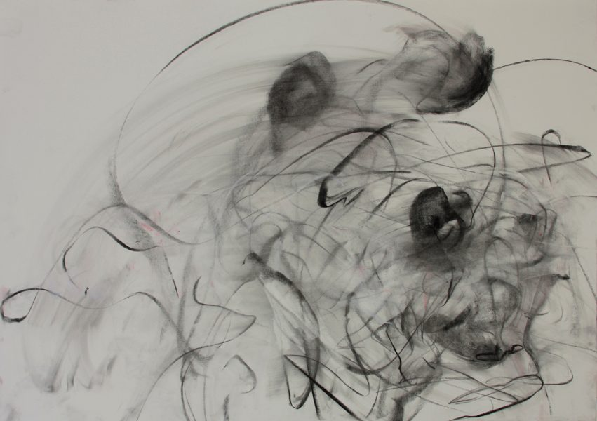 Dominguez v Tischhauser, Pastel and charcoal on paper, 27.75 x 39.50 inches