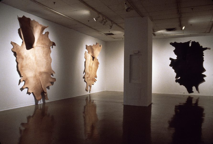 Terry Rosenberg, Banshees, 1981, cowhide, ceiling height 12 ft, Philadelphia College of Art