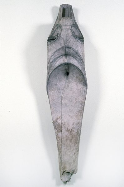 Untitled, 1986-87, Cowhide and graphite, 59 x 27 x 14 inches